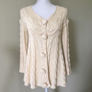 Gracie ivory cable knit swing sweater coat small